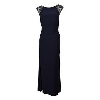 Xscape Women's Cap Sleeve Beaded Ruched Dress