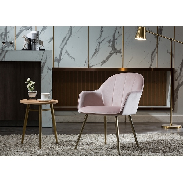 EUGAD Dining Room Chairs Set of 2 PCS Kitchen Side Chairs for Bedroom Living Room Pink Velvet Dining Chairs with Arms Rest Back Support /& Wood Legs 0303BY-2