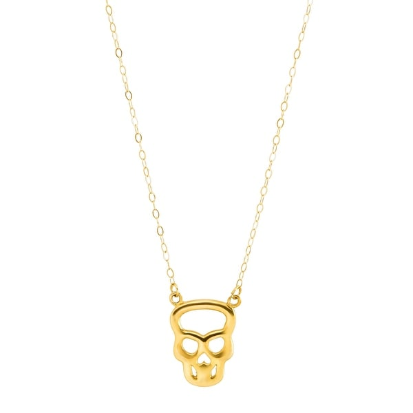 Eternity Gold Teeny Tiny Silhouette Skull Necklace in 10K Gold