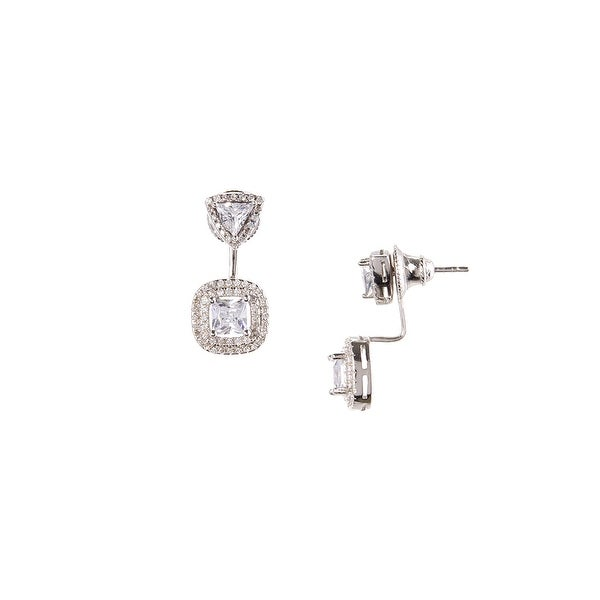 925 Sterling Silver Square Center Stone Ear Jacket with Cubic Zirconia Stone Trimming