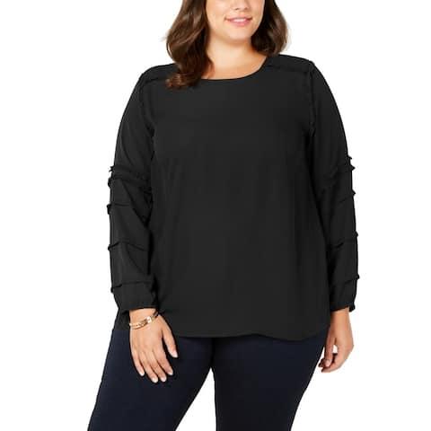 Love Scarlett Women's Blouse Black Size 2X Plus Ruffled-Sleeves Woven