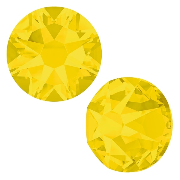 Swarovski Crystal, Round Flatback Rhinestone SS16 3.8mm, 50 Pieces, Yellow Opal
