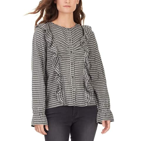 William Rast Womens Susannah Plaid Praire Top XL Jet Black /Buffalita Plaid