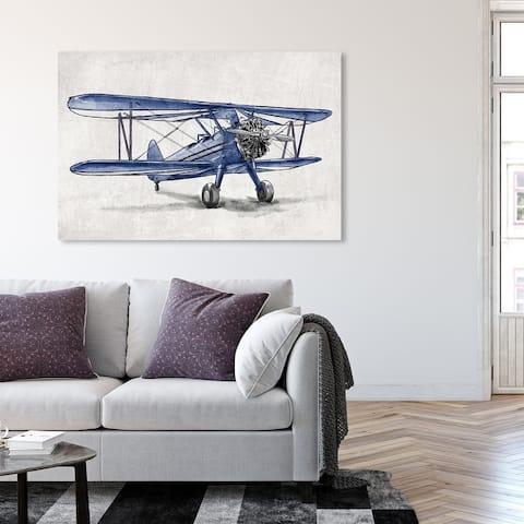 Oliver Gal 'Blue Vintage Aviator' Transportation Wall Art Canvas Print Airplanes - Blue, White