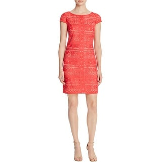 Laundry by Shelli Segal Womens Party Dress Embroidered Cap Sleeve