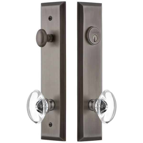 Grandeur FAVPRO_TP_ESET_238 Fifth Avenue Solid Brass Tall Plate Single Cylinder Keyed Entry Set with Provence Crystal Knob and
