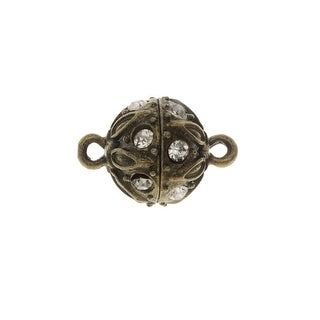 Magnetic Clasp, Sphere with Drop Pattern and Rhinestones 18x12.5mm, 1 Set, Antiqued Bronze Tone