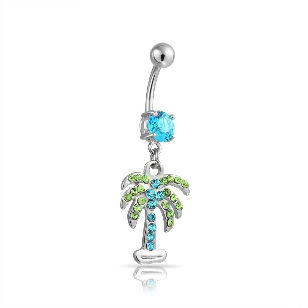 Surgical Stainless Steel Cubic Zirconia Palm Tree Pendent Necklace