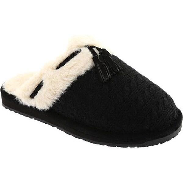 744c03af1 Shop Clarks Women s Knit Tassel Clog Slipper Black Cow Suede - Free ...