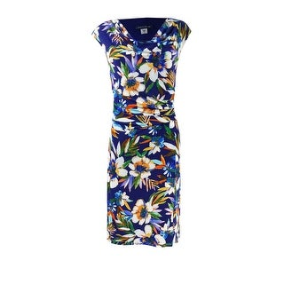 Tommy Hilfiger Women's Cowl Neck Ruched Floral Dress - Navy Multi