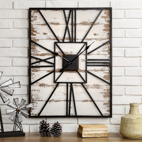 """Antique Farmhouse Oversized Wooden Wall Clock by Glitzhome - 32""""H. Opens flyout."""