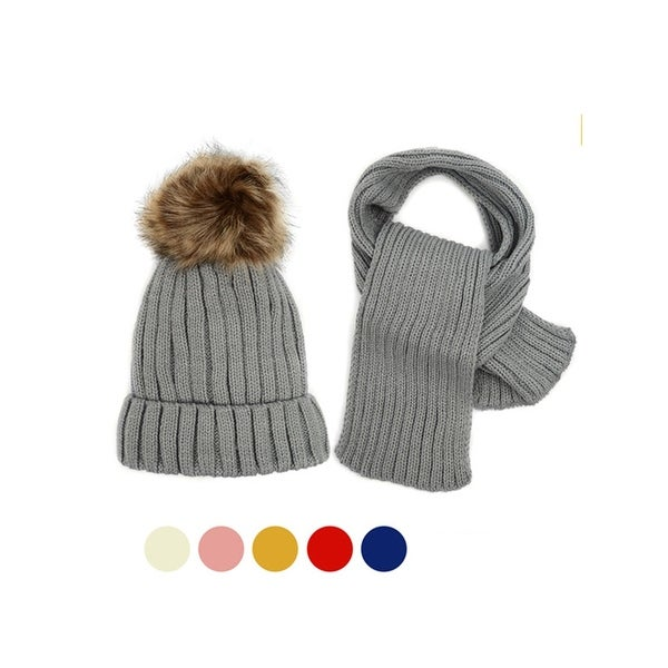 89cadf15be5 Shop Kids Winter Knitted Fur Pom Beanie Hat Scarf Set for boys and girls -  Free Shipping On Orders Over  45 - Overstock - 24040429