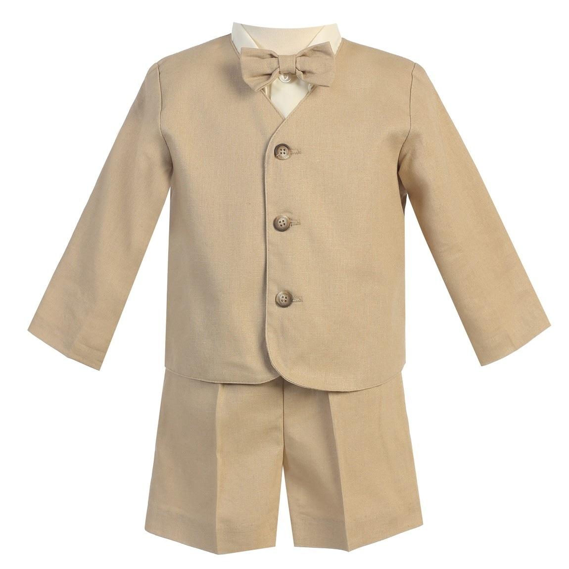 Lito Baby Boys Ivory Eton Short Formal Ring Bearer Easter Suit 6-24M