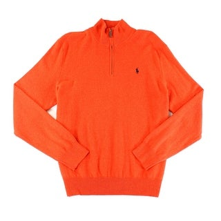 Polo Ralph Lauren NEW Orange Mens Size Small S 1/2 Zip Wool Sweater