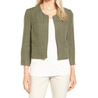 Nordstrom Collection Green Womens Size XS Open-Front Linen Jacket