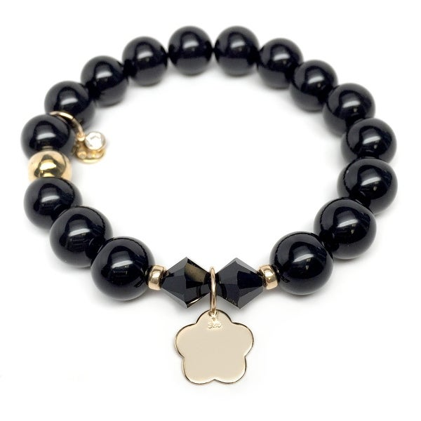 "Black Onyx Flower Gold Charm Paris 7"" Bracelet"