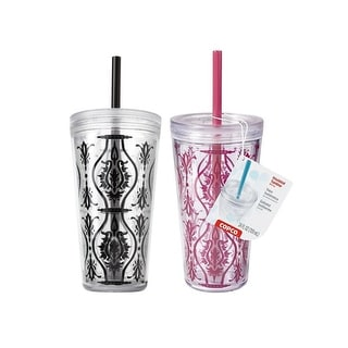 2 Pack Copco Minimus Tumbler With Removable Straw Double Wall Insulation - BPA Free Plastic 24 Oz - Damask Red Damask Black