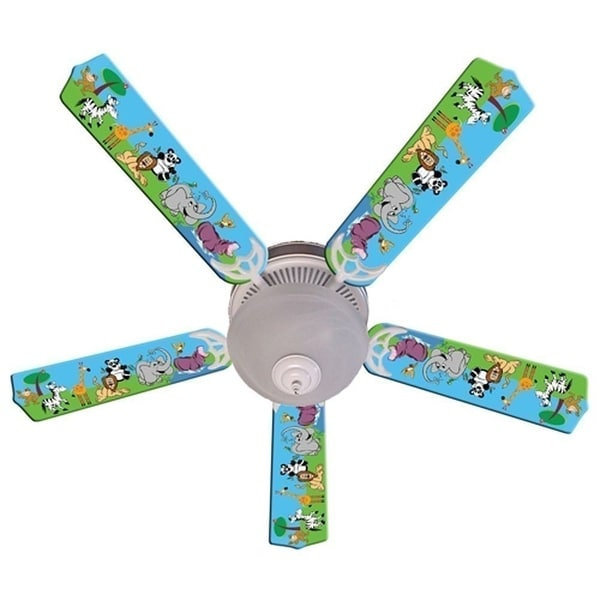 Wild Animal Friends Designer 52in Ceiling Fan Blades Set - Multi