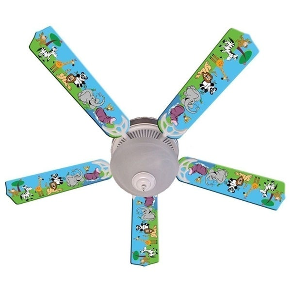 Wild Animal Friends Print Blades 52in Ceiling Fan Light Kit - Multi