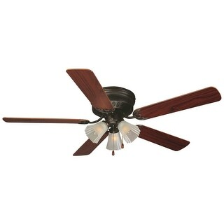 "Design House 153411 52"" 5 Blade Hugger Ceiling Fan with Oil Rubbed Bronze Finish from the Millbridge Collection - Light Kit and"