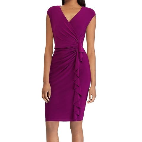 American Living Women's Dress Purple Size 8 Sheath Surplice Gathered
