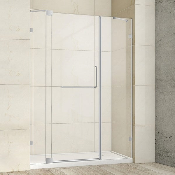 """Milano 60"""" W x 72"""" H Hinged Frameless Tub Door in Brushed Nickel - 60"""" W x 72"""" H. Opens flyout."""