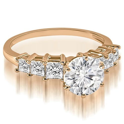 1.50 cttw. 14K Rose Gold Round and Princess cut Diamond Engagement Ring
