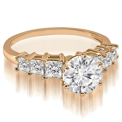 1.75 cttw. 14K Rose Gold Round and Princess cut Diamond Engagement Ring