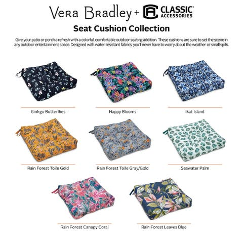 Vera Bradley by Classic Accessories Water-Resistant Patio Chair Cushions, 19 x 19 x 5 Inch, 2 Pack