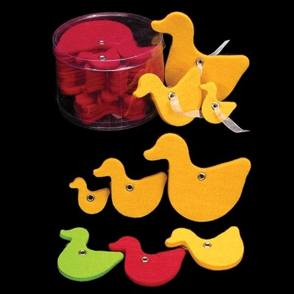 """Club Pack of 144 Yellow Fuzzy Felt Ducks in Assorted Sizes 1"""", 2"""", 3"""""""