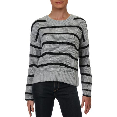 Design History Womens Sweater Striped Cropped - Felt Grey Combo