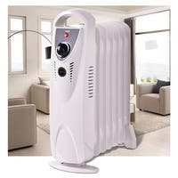 Costway Portable 700W Electric Oil Filled Radiator Heater Thermostat Room Radiant Heat - White