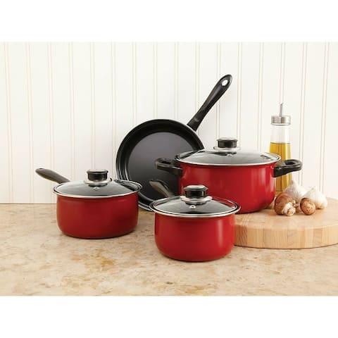 Sunbeam 7-piece Non-Stick Red Cookware Set