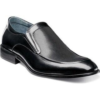 Stacy Adams Men's Jace Moc Toe Slip-On 25150 Black Buffalo Leather