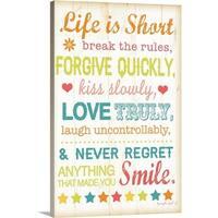 Jennifer Pugh Premium Thick-Wrap Canvas entitled Life Is Short - Multi-color