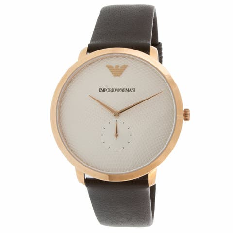 Emporio Armani Men's Modern Slim AR11163 Rose-Gold Leather Japanese Quartz Dress Watch - Gold