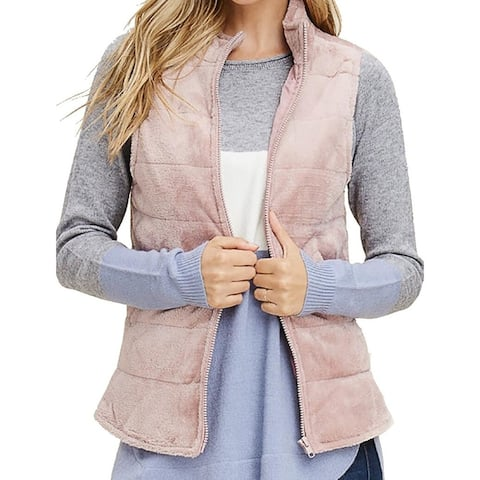 Staccato Womens Sweater Blush Pink Size XL Vest Full-Zip Faux Suede