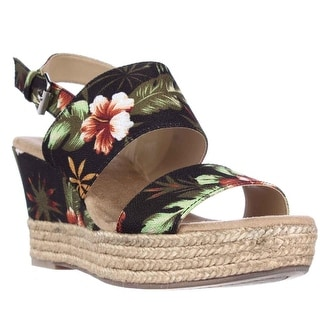 White Mountain Bar Harbor Wedge Espadrille Sandals - Black