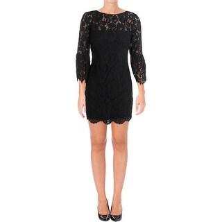 Lauren Ralph Lauren Womens Petites Cocktail Dress Lace Scalloped Hem