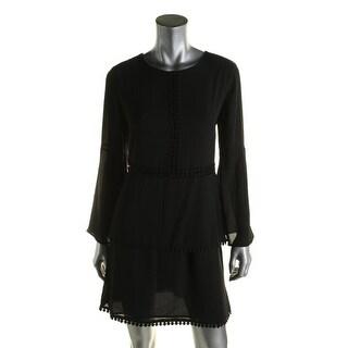 Aqua Womens Semi-Formal Dress Georgette Crochet Trim
