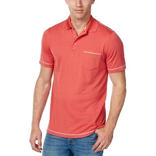 Tasso Elba Island Performance Mini Check Polo Shirt Coral Depth Medium M