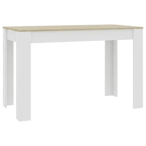 """vidaXL Dining Table White and Sonoma Oak 47.2""""x23.6""""x29.9"""" Chipboard"""