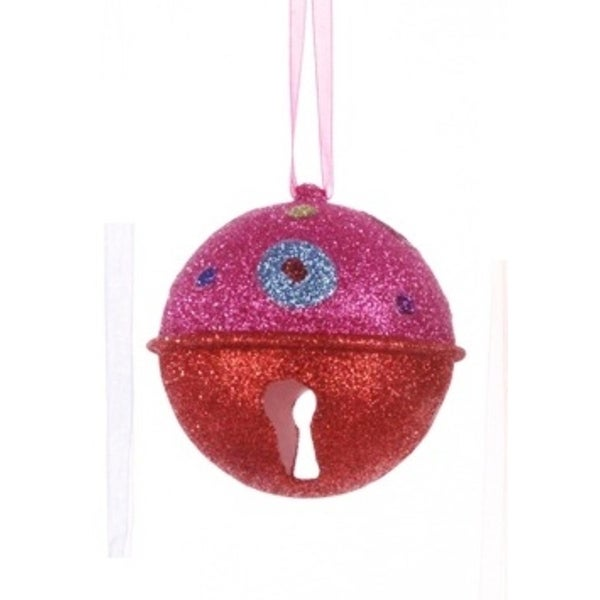 """Candy Fantasy Pink and Red Glitter Bell with Polka Dots Christmas Ornament 3.25"""""""
