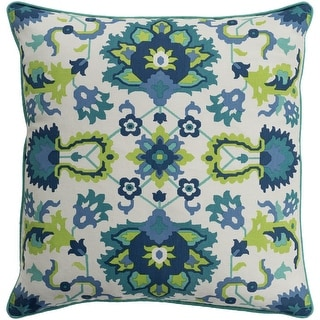 Kyna Floral Modern Teal Feather Down or Poly Filled Throw Pillow 18-inch