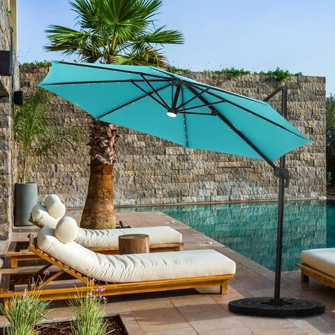 Ainfox Outdoor 10ft Solar Cantilever Offset Hanging Patio Umbrella