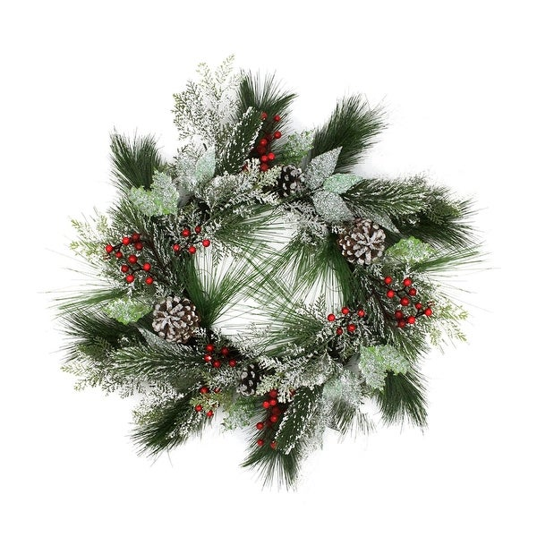 "24"" Frosted Two-Tone Cedar and Long Needle Pine Berry Artificial Christmas Wreath - Unlit"