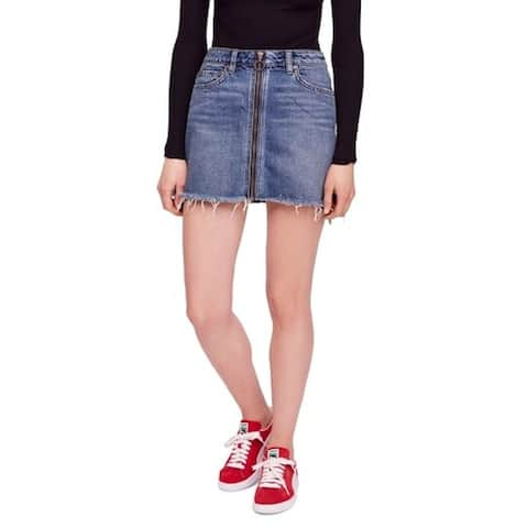 FREE PEOPLE Womens Blue Mini Pencil Skirt Size 28 Waist