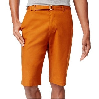 Sean John Sugar Almond Orange Mens 36 Stretch Belted Long Shorts
