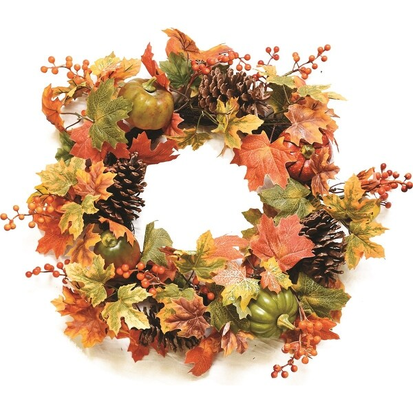 "20"" Autumn Harvest Decorative Artificial Fall Leaves  Pinecones  Pumpkins and Berries Wreath - Unlit"