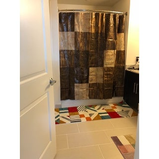 Animal Print Faux Leather Shower Curtain and Hooks Set or Separates